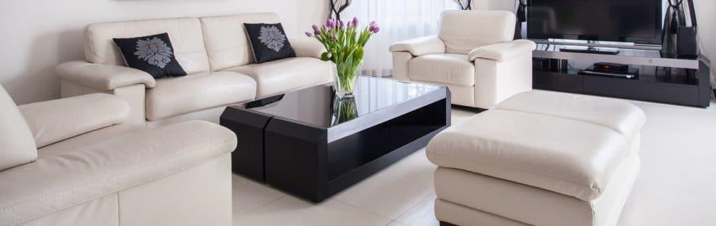 Cream leather lounge suite