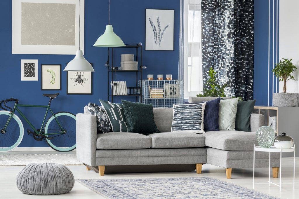 Navy blue living room design