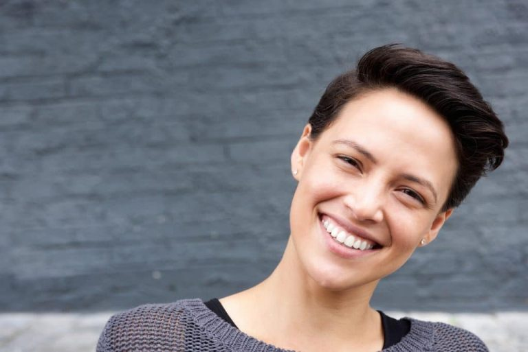 Attractive female face with short hair